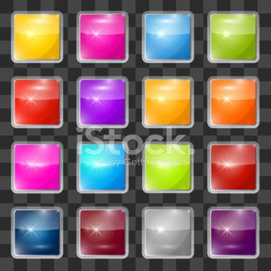 Colorful Vector Square Glass Buttons Set