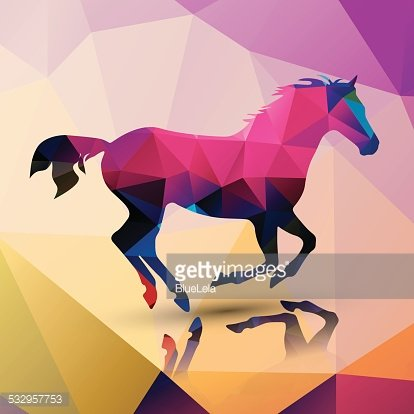 Geometric Polygonal Horse Pattern Design Vector Illustration