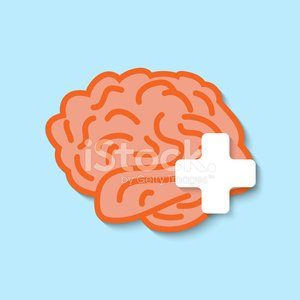 Vector flat human brain icon.