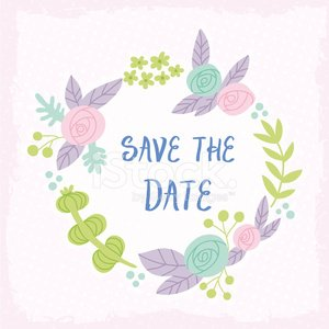 Save the date floral wreath.