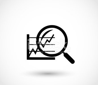 Analyse icon - magnifier and graph vector illustration