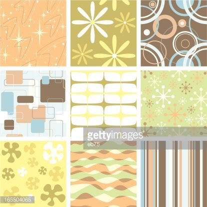 Set of nine funky retro seamless patterns
