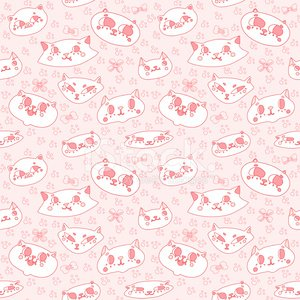 Funny doodle cartoon cats pink seamless vector pattern
