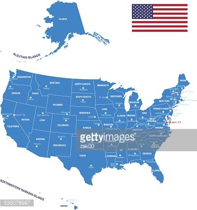 Map of USA - Flag, states and cities.