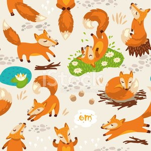 Seamless pattern with little cute foxes. Vector illustration