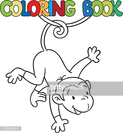 Coloring Book of Litle Funny Monkey ON Lian premium clipart ...