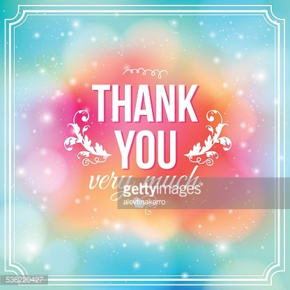 Thank you background. Card on soft colorful