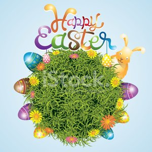 Easter Eggs and Bunny with Grass Background