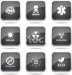 Warning Sign Square Vector Black Button Icon Design Set
