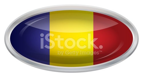 Glossy Button - Flag of Chad
