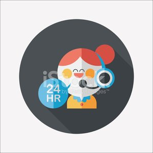 24 hours customer phone service flat icon with long shadow