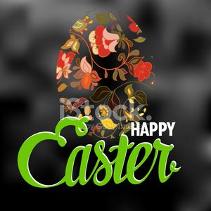 Happy Easter Typographical Background with ornate egg