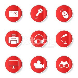 Electronic Equipment Red Vector Button Icon Design Set