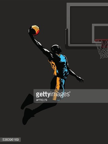 Basketball Player Jumps TO Dunk premium clipart