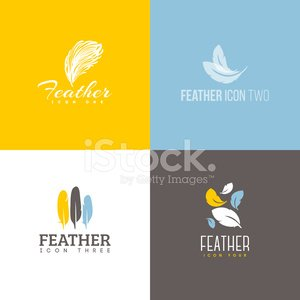 Feather icon. Set of design elements