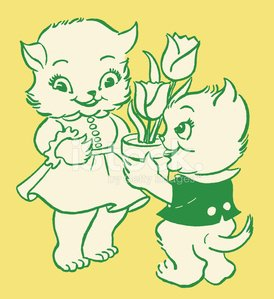 Boy and Girl Kittens with Gifts