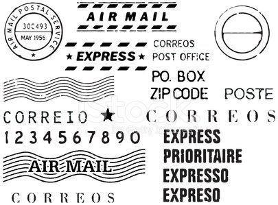 Snail mail stamp set vector