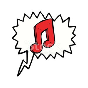 cartoon musical note with speech bubble