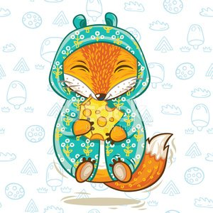 Cute fox cartoon character with a piece of cheese