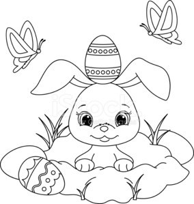 9 Places for Free Easter Bunny Coloring Pages | 299x284