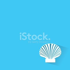 Scallop seashell of mollusks icon sign isolated vector illustrat