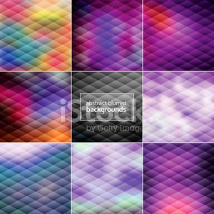 Set of Eight Trendy Faceted Blur Defocused Backgrounds