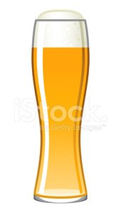 Single Beer Glass Icon Isolated on White