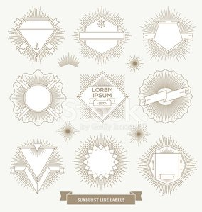 Set of emblem, sign and hipster labels with sunburst rays