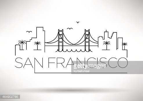 san francisco city line silhouette typographic design premium