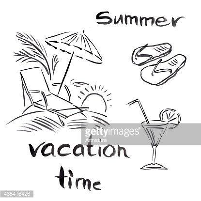 Black And White Illustration Of Traveling Themes Summer Vocation