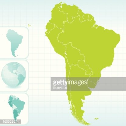 South America Continent Map and Globe Set