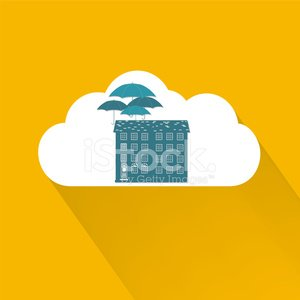 Cloud Icon With House And Umbrellas - Home Insurance