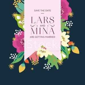 Save The Date Wedding Card With Floral Background Pink