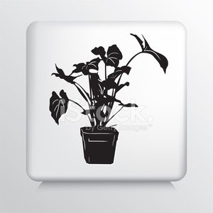 Square Icon with House Plant in Pot Black Silhouette