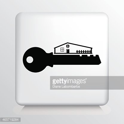Square Icon with House on Black Key Silhouette