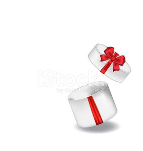 Open gift box with red bow isolated on white background