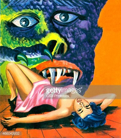 Monster Attacking Screaming Woman