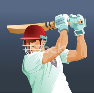 Sport Game of Cricket - Batsman Close Up