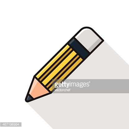 pencil icon line icon with long shadow