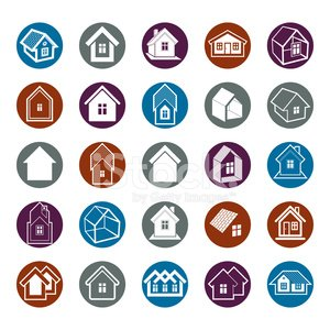 Different houses icons for use in graphic design, set