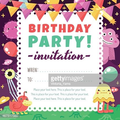 Birthday party funny space invitation with cartoon aliens and birthday party funny space invitation with cartoon aliens and monsters stopboris Gallery