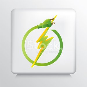 Square Grey Icon With Energy Efficient Green Electricity Symbol