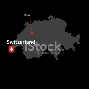 Detailed map of Switzerland and capital city Bern with flag