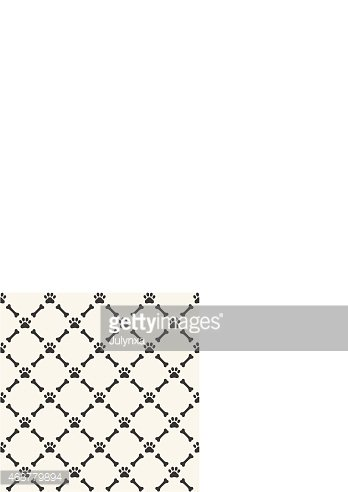 Seamless background with dog paw print and bone