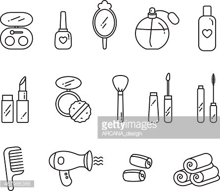 Vector Beauty Face And Hair Care Icon Set Clipart Image