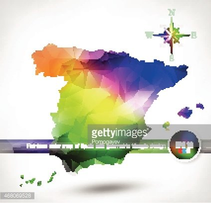 Rainbow color map of spain with geometric triangle design premium rainbow color map of spain with geometric triangle design gumiabroncs Image collections