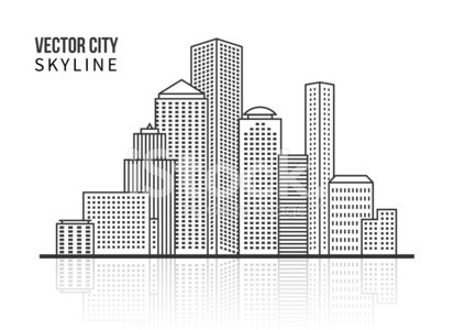 City skyline silhouette in line style