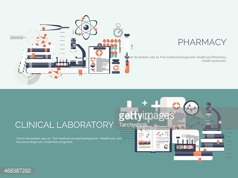 Vector illustration. Flat medical and chemical background. Research, experiment. Healthcare