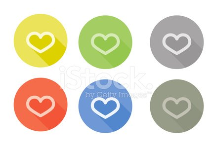 Collection Of Heart Symbol Rounded Icon With Shadow Different Co
