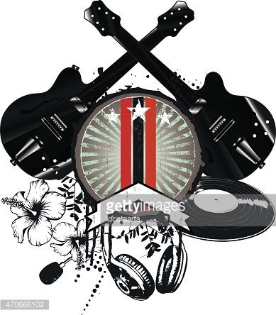 grunge and vintage music crest with black guitars